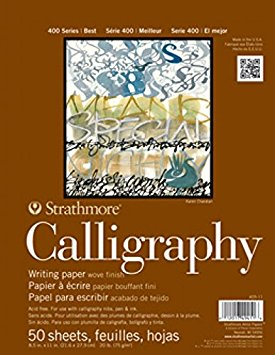 """Strathmore 400 Series Calligraphy Pad, 8.5""""x11"""" Tape Bound, 50 Sheets"""