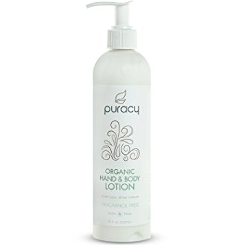 Puracy Organic Hand & Body Lotion, The BEST Natural Moisturizer, Unscented, All Skin Types, All Day Moisture, All Natural, 12 Ounce Bottle