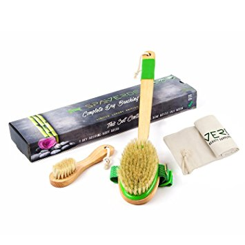 Dry Brushing Body Brush - Natural Boar Bristle Dry Brush Set for Body and Face Brushing - Skin Brush that Revitalizes and Rejuvenates - Aids Lymph Flow, Alleviates Cellulite and Eliminates Toxins