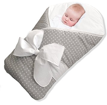 BundleBee Baby Wrap/Swaddle/Blanket, Feather Light/Grey Polka Dot, 0-4 Months