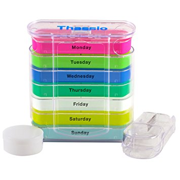 Pill Organizer Box Weekly Case with Pill Splitter Cutter – Holder –Large Travel Medication Reminder Daily Am PM, Day Night Compartments 7 day–Medicine Dispenser Twice, 3, 4 Times a Day