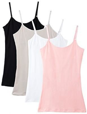 Caramel Cantina Shelf Bra Cami Tank-Top in Assorted Colors 4-Pack (Small, Coral/White/Black/Beige)