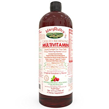 VEGAN LIQUID MORNING MULTIVITAMIN by MARYRUTH (Raspberry) Highest Purity Organic Ingredients, Vitamins A B C D3 E, Minerals & Amino Acids to Provide Natural Energy All Day Non-GMO Gluten Free Paleo