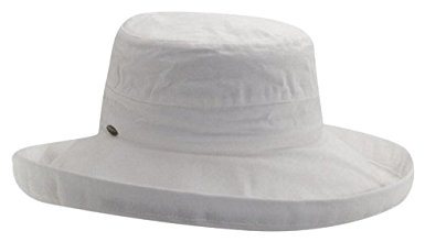 Scala Women's Cotton Hat with Inner Drawstring and Upf 50+ Rating,White,One Size