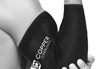 Copper Compression Recovery Elbow Sleeve - Highest Copper Content Elbow Brace / Support. For Workouts, Golfers And Tennis Elbow, Arthritis, Tendonitis. Copper Infused Fit - Wear Anywhere. (Medium)