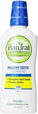 The Natural Dentist  Healthy Teeth FluorideRinse - Alcohol-free mouthwash that strengthens tooth enamel. Fresh Mint flavor, 16.9 oz.