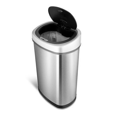 The Best Kitchen Trash Can Comes In The Form Of Ninestars DZT 50 9  Automatic Touchless Motion Sensor Oval Trash Can And Lets You Experience  The Modern ...
