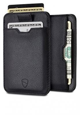 Chelsea Slim Card Sleeve Men's Wallet with RFID Protection by Vaultskin – Top Quality Italian Leather - Ultra Thin Card Holder Design For Up To 10 Cards (Black)